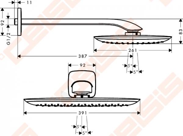 Dušo galva iš sienos HANSGROHE Pura Vida 400 Air 1jet su 390 mm alkūne Paveikslėlis 2 iš 2 270721000670