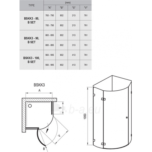 Shower enclosures Brilliant BSKK3 80,90,100x195CM Paveikslėlis 6 iš 6 270730001090