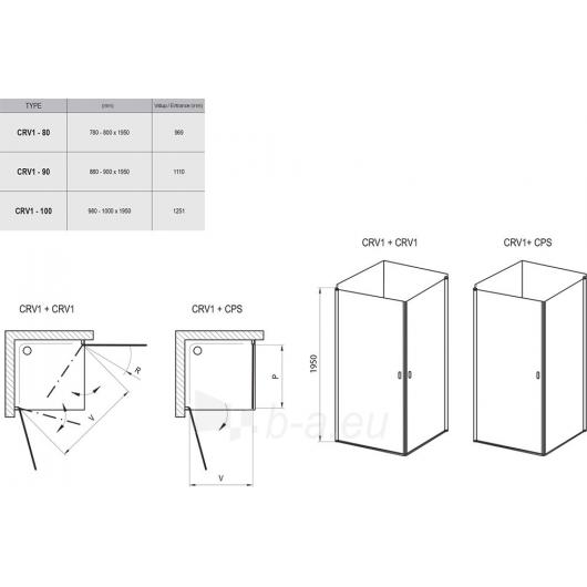 Shower enclosures Chrome CRV1 + CRV1 80,90,100X195cm Paveikslėlis 2 iš 2 270730001093