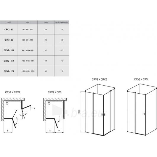 Dušo kabina Chrome CRV2 + CRV2 80,90,100,110,120X195cm Paveikslėlis 2 iš 2 270730001094