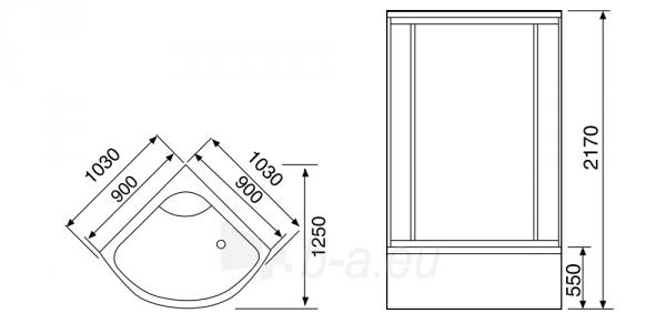 Dušo kabina Duschy ketursienė su masažu 103x103х217cm LED Paveikslėlis 4 iš 4 310820217378