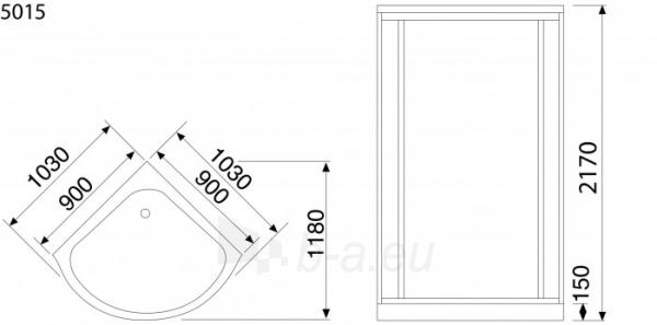 Dušo kabina Duschy ketursienė su masažu 103x103x217cm LED Paveikslėlis 6 iš 6 310820217376