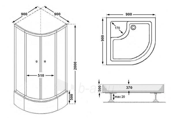 Shower enclosures FABRIC AA90 Paveikslėlis 4 iš 8 270730000420