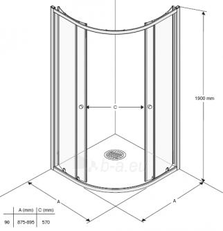Shower enclosures IFO SILVER KVARTSRUND 90x90 pusapvalė Paveikslėlis 9 iš 15 270730000631
