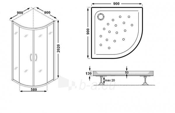 Dušo kabina K890 90x90 fabric Paveikslėlis 5 iš 8 270730000948
