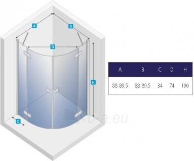Dušo kabina NEW TRENDY ELEGANTA 90, skaidrus stiklas Paveikslėlis 2 iš 2 270730001172