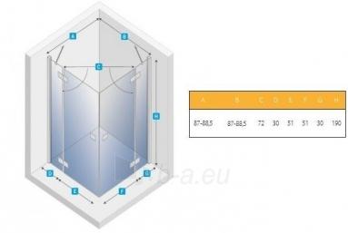 Dušo kabina NEW TRENDY RENOMA 90, skaidrus stiklas Paveikslėlis 2 iš 2 270730001179