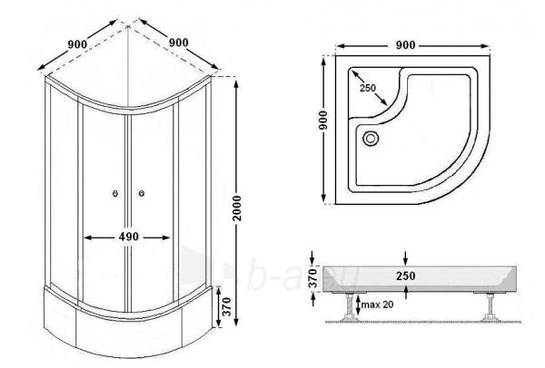Shower enclosures PA90 fabric Paveikslėlis 6 iš 10 270730000441