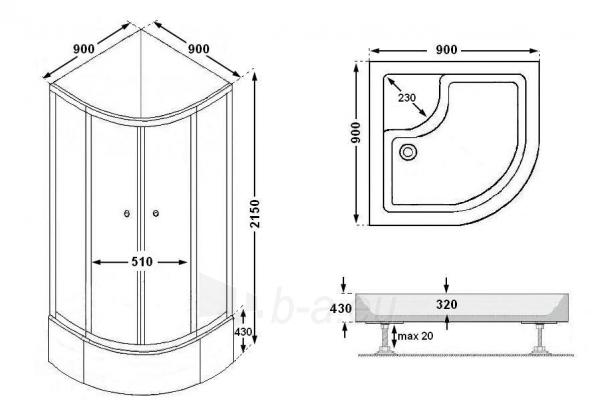 Shower enclosures R8804B grey/black Paveikslėlis 5 iš 14 270730000794