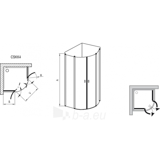 Dušo kabina Ravak Chrome CSKK4-90 satin/Transparent Paveikslėlis 3 iš 3 270730000681