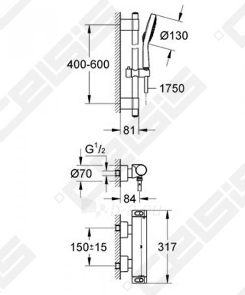 Dušo komplektas GROHE Grohtherm 2000 NEW su termostatainiu dušo maišytuvu Paveikslėlis 2 iš 2 270721000683