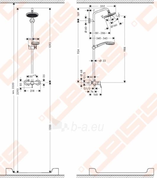 Dušo komplektas HANSGROHE Croma 100 1 jet Paveikslėlis 4 iš 4 270721000702