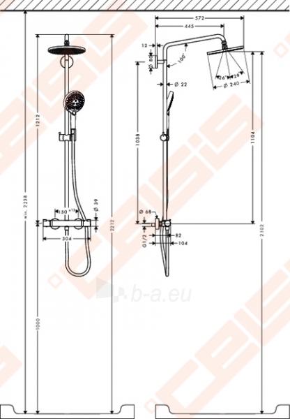 Dušo komplektas HANSGROHE Raindance Select S 240 su termostatiniu maišytuvu, EcoSmart 9 l/min Paveikslėlis 2 iš 2 270721000743