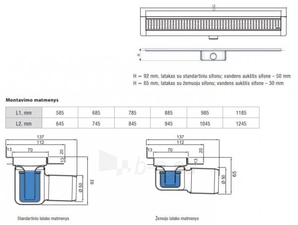 Dušo latakas Aco ShowerDrain C, 985, aukštis 65 mm, su ruošiniu plytelėms, vertikali jungė Paveikslėlis 2 iš 2 310820219166