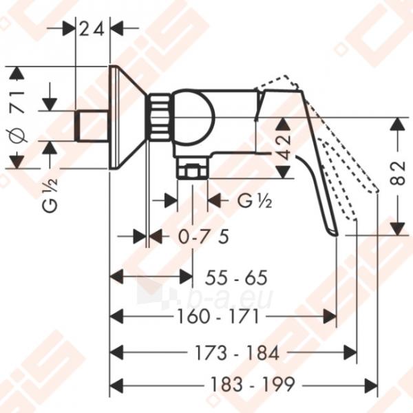 Dušo maišytuvas HANSGROHE Focus Eco cartridge Paveikslėlis 2 iš 2 270721000780