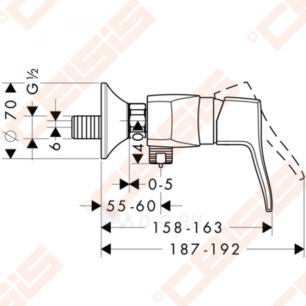 Dušo maišytuvas HANSGROHE Metris Classic Paveikslėlis 2 iš 3 270721000783