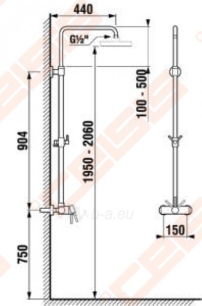 Dušo maišytuvas JIKA Lyra su dušo stovu, reguliuojamas aukštis (40 cm), be rankinio dušo komplekto Paveikslėlis 2 iš 3 270721000786