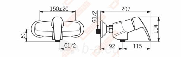 Dušo maišytuvas ORAS Safira. Dušo žarnos pajungimas G1/2. Yra ekscentrinės jungtys su ventiliu ir dangteliai Paveikslėlis 2 iš 3 270721000788