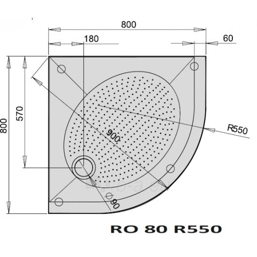 Shower tray ART RO 80 R 550 Paveikslėlis 2 iš 2 270730000739