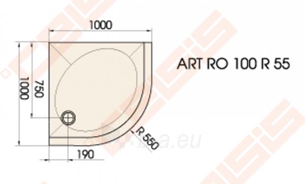 Dušo padėklas PAA ART 100x100 su panele ir kojelėmis, baltas (radius 550) Paveikslėlis 2 iš 3 270780000377