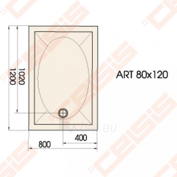 Dušo padėklas PAA ART 80x120 su panele ir kojelėmis, baltas Paveikslėlis 2 iš 2 270780000373