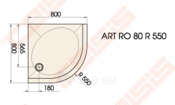 Dušo padėklas PAA ART 80x80 su panele ir kojelėmis, pilkas (radius 550) Paveikslėlis 2 iš 3 270780000371
