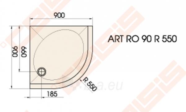Dušo padėklas PAA ART 90x90 su panele ir kojelėmis, baltas (radius 550) Paveikslėlis 2 iš 3 270780000322