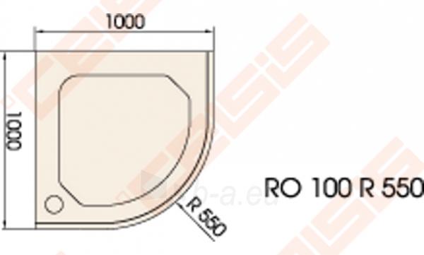 Dušo padėklas PAA CLASSIC 100x100 su panele ir kojelėmis, pilkas (radius 550) Paveikslėlis 2 iš 2 270780000315