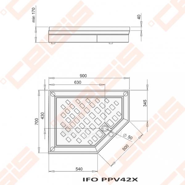 Dušo padėklas PAA CLASSIC 900x700x500 su panele ir kojelėmis, dešininis, pilkas Paveikslėlis 2 iš 2 270780000311
