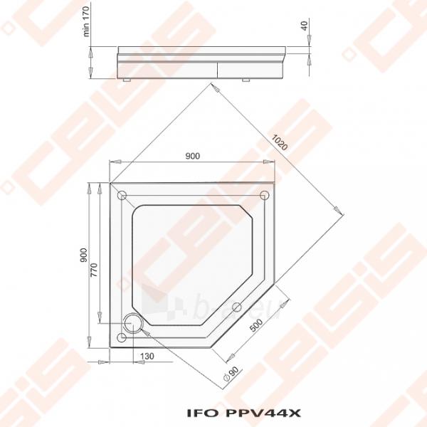 Dušo padėklas PAA CLASSIC 900x900x500 su panele ir kojelėmis, baltas Paveikslėlis 2 iš 2 270780000308