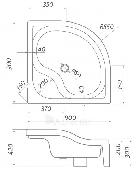 Dušo padėklas Semideep Neo 900x900 Paveikslėlis 3 iš 3 310820165695