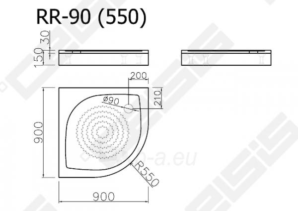 Dušo padėklas VISPOOL RR-90 (radius 550) Paveikslėlis 2 iš 2 270780000222