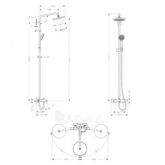 Dušo sistema Croma 220 Showerpipe 27223000 Paveikslėlis 1 iš 2 270790100146