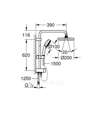 Dušo sistema NTempesta Cosmopolitan 200 (stac.galva* Ø200, alkūnė 390mm, rankinis dušas) be maišytuvo, chromas Paveikslėlis 2 iš 2 310820165726
