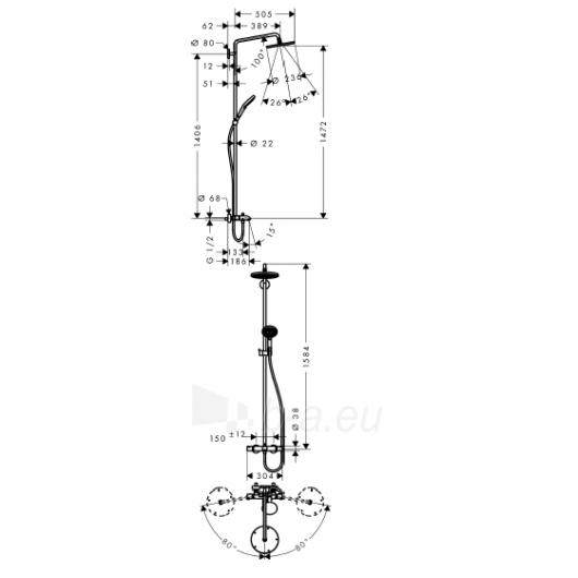 Dušo sistema voniai Raindance Select240 Showerpipe 27117000 Paveikslėlis 1 iš 2 270790100144
