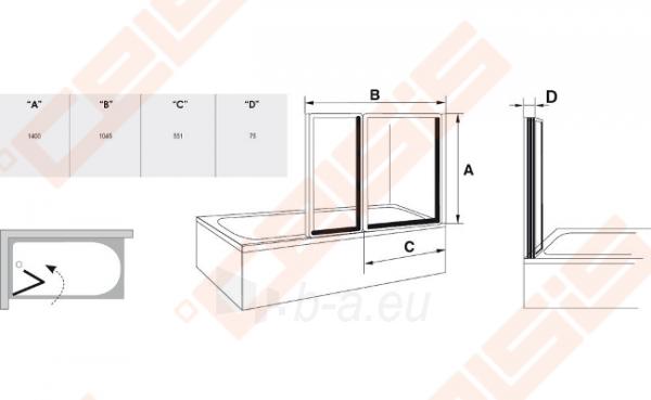 Dviejų dalių sulankstoma vonios sienelė RAVAK VS2 105 su baltos spalvos profiliu ir plastiko Rain užpildu Paveikslėlis 3 iš 3 271410000354