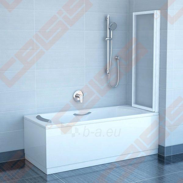 Dviejų dalių sulankstoma vonios sienelė RAVAK VS2 105 su baltos spalvos profiliu ir skaidriu stiklu Paveikslėlis 2 iš 3 271410000355