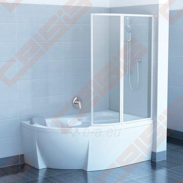 Dviejų dalių sulankstoma vonios sienelė RAVAK VSK2 140 Rosa su baltos spalvos profiliu ir skaidriu stiklu, kairė pusė Paveikslėlis 1 iš 2 271410000361