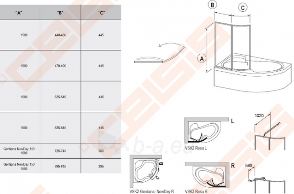Vonios sienelė RAVAK VSK2 160 Rosa su baltos spalvos profiliu ir skaidriu stiklu, L/R Paveikslėlis 2 iš 2 271410000369