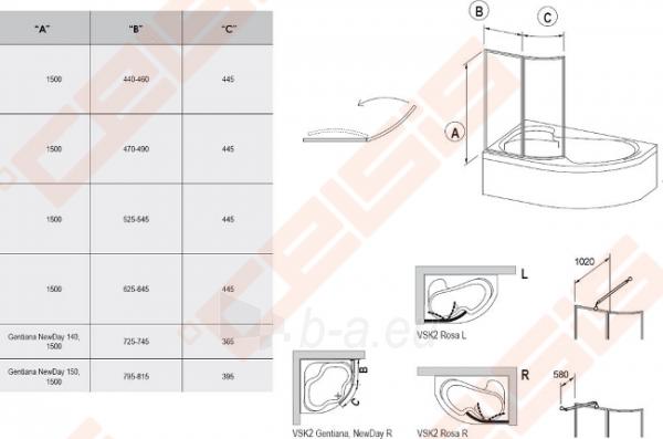 Vonios sienelė RAVAK VSK2 170 Rosa su baltos spalvos profiliu ir skaidriu stiklu, L/R Paveikslėlis 2 iš 2 271410000373