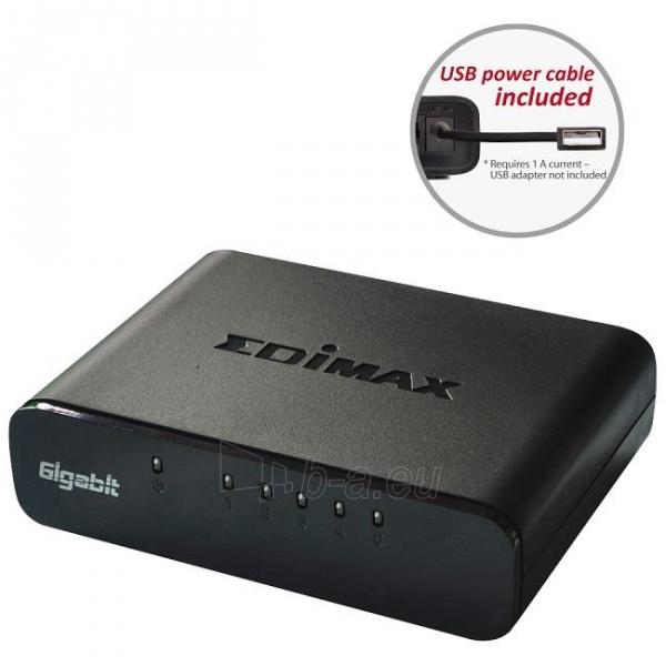 Edimax 5x 10/100/1000Mbps Switch, opt. power supply via USB cable (incl.) Paveikslėlis 1 iš 10 250257501255