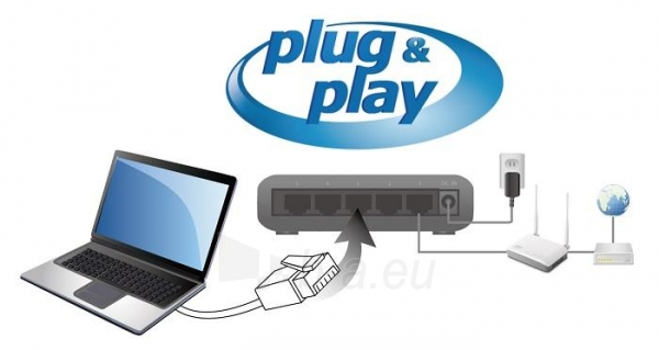Edimax 5x 10/100/1000Mbps Switch, opt. power supply via USB cable (incl.) Paveikslėlis 6 iš 10 250257501255