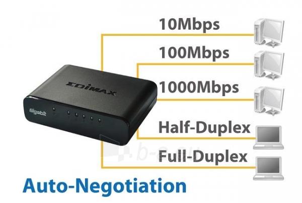 Edimax 5x 10/100/1000Mbps Switch, opt. power supply via USB cable (incl.) Paveikslėlis 2 iš 10 250257501255