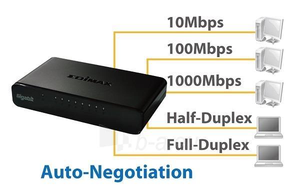 Edimax 8x 10/100/1000Mbps Switch, opt. power supply via USB cable (incl.) Paveikslėlis 3 iš 10 250257501164