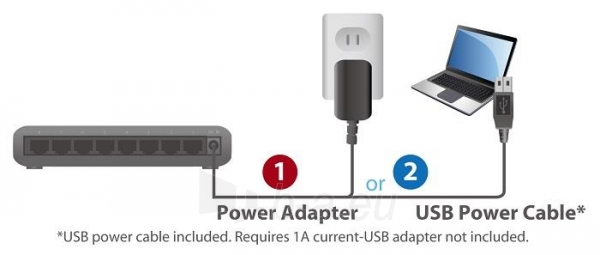 Edimax 8x 10/100/1000Mbps Switch, opt. power supply via USB cable (incl.) Paveikslėlis 2 iš 10 250257501164