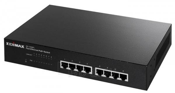 Edimax 8x 10/100 PoE+ switch, 802.3at/af, 80W budget (30W/port) Paveikslėlis 2 iš 4 250257501159