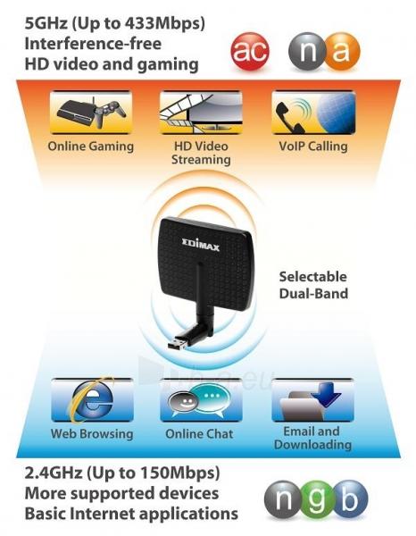 Edimax AC600 Dual Band 802.11ac USB adapter, 2,4/5GHz, 5/7dBi direction. antenna Paveikslėlis 6 iš 9 250257100322