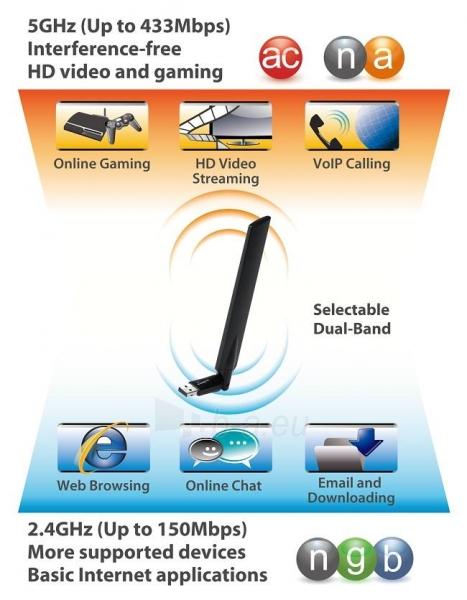 Edimax AC600 Dual Band 802.11ac USB adapter, 2,4GHz+5GHz, 4/6dBi antenna craddle Paveikslėlis 7 iš 7 250257100323