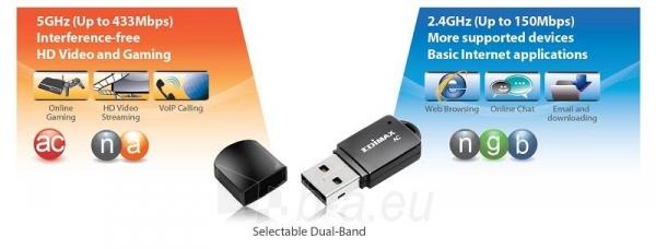 Edimax AC600 Dual Band 802.11ac USB tiny adapter, 2,4+5GHz, HW WPS Paveikslėlis 2 iš 12 250257100325
