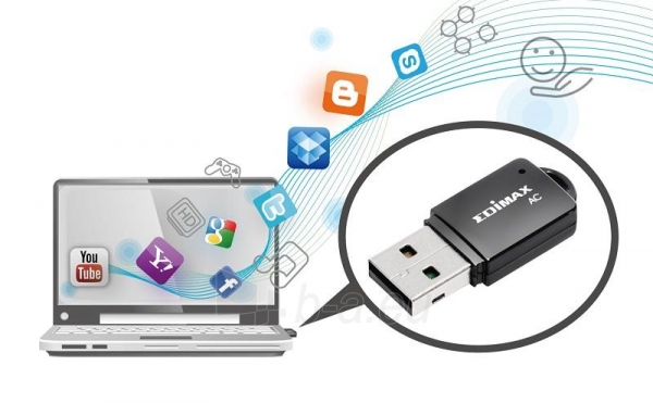 Edimax AC600 Dual Band 802.11ac USB tiny adapter, 2,4+5GHz, HW WPS Paveikslėlis 12 iš 12 250257100325